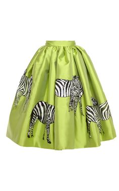 Acqua Mikado Skirt With Hand-Painted Zebras by Stella Jean for Preorder on Moda Operandi