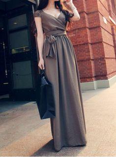 Bohemian Style V-Neck Solid Color Front Slit Sleeveless Women's Maix Dress