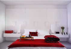 Romantic Couple Bedroom Design With White Wall And Red Bedspread, romantic bedroom ideas, romantic bedroom design ~ Home Design Romantic Bedroom Design, Modern Master Bedroom, Master Bedroom Design, Minimalist Bedroom, Master Room, White Bedroom, Bedroom Designs, Minimalist Design, Bedroom Decor For Couples