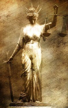 Goddess Justitia by Dark-Wayfarer on DeviantArt Greek Mythological Creatures, Justice Tarot, Balance Tattoo, Lady Justice, Arte Pop, Statue, Aesthetic Photo, Back Tattoo, Sleeve Tattoos