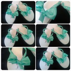 These are white flip flops wrapped in Tiffany blue satin ribbon with beautiful high high quality rhinestones along each side.In the center is a