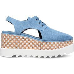 Stella Mccartney Elyse cutout flatform shoes (£675) ❤ liked on Polyvore featuring shoes, flatform shoes, wooden shoes, flatform oxfords, oxford shoes and stella mccartney shoes