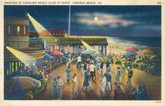 """Dancing at Cavalier Beach Club at Night, Virginia Beach"", 1940, Postcard Collection, LVA Prints & Photos."