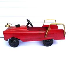 VINTAGE PEDAL CAR/ Fire Engine by orangedoorvintage on Etsy, $120.00