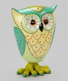 Large Green Owl Figurine.. The feet are a little odd