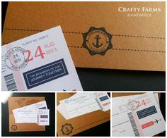 Budget handmade wedding card Malaysia boarding pass destination theme