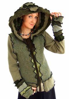 Green Elf hOOdie  Zippy Sweater  MEDIUM von Fairytea auf Etsy