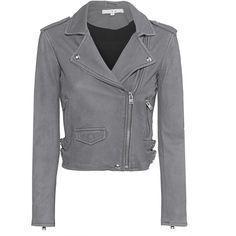 IRO Ashville Grey // Lamb leather biker jacket found on Polyvore featuring outerwear, jackets, lambskin jacket, cropped motorcycle jacket, moto biker jacket, lambskin leather jackets and gray jacket