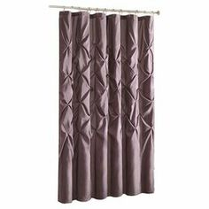"""Refresh your powder room or master bath with this charming curtain, showcasing chic pintuck details and a natural tone.   Product: Shower curtainConstruction Material: 100% Polyester polyoniColor: PlumFeatures: TuftedDimensions: 72"""" H x 72"""" W"""