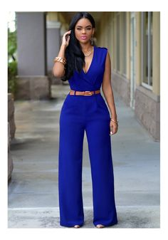 3f2ac03681d7 Raincow Women s Plunge Belted Wide Leg Long Jumpsuits Rompers Blue Large --  Awesome products selected