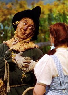 Scarecrow and Dorothy in The Wizard of Oz