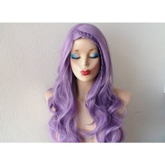 Pastel Wig Lavender Wig Pastel Light Purple Long Curly Volume Hair... ($90) ❤ liked on Polyvore featuring beauty products, haircare, hair styling tools, hairstyle, bath & beauty, grey, hair care, wigs and curly hair care