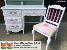 Adorable custom mixed milk paint desk by R Old House Vintage, https://www.facebook.com/RoldhouseLLC?fref=ts.  This soft pink is a mix of GF Snow White and Holiday Red Milk Paints.  We'd love to see your projects made with General Finishes products! Tag us with @GeneralFinishes and make sure to let us know which products you used!