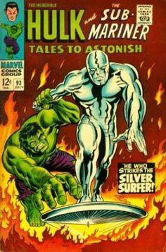 Tales to Astonish The Hulk vs the Silver Surfer. Cover by Marie Severin Tales to Astonish The Hulk vs the Silver Surfer. Cover by Marie Severin Comic Book Pages, Comic Book Artists, Comic Book Covers, Marvel Comic Books, Marvel Dc Comics, Comic Books Art, Comic Art, Hulk Comic, Vintage Comic Books