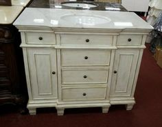 "48"" Bathroom sink Whitewash cabinet w white Granite top Vanity"