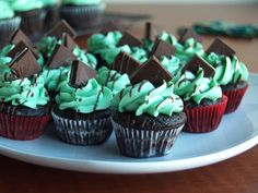 Andes Mint Cupcakes with a light and fluffy chocolate cupcake and minty chocolate mousse filling