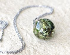 Lichen and Moss Sphere Necklace green resin jewelry by UralNature
