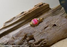 Wire Wrapped Brass Striped Pink Agate Bead Pinky by superioragates