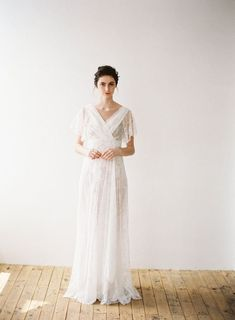 This feminine and dainty bridal gown is part of designer Hannah Kong's 2018 collection. Loving the draping sleeves and skirt. Bridal Gowns, Wedding Gowns, Sophisticated Style, Elegant, Classy Gowns, Whimsical Fashion, Draping, Beautiful Gowns, Bridal Collection