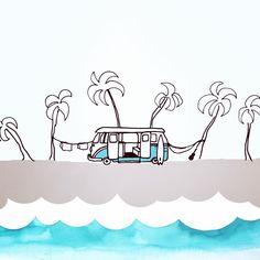 Surfer Van - Surf Art - Gone Surfing Art Print by Cora Eklund - X-Small Surf Drawing, Beach Drawing, Painting & Drawing, Surfboard Painting, Paisley Art, Surfer, Photo Wall Collage, Stencil Art, Funny Art