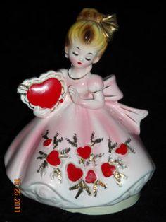 Vintage Josef  Originals Valentine girl figurine, from the Flower Girl series.