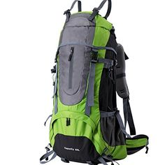 Brave Pioneer 60L Outdoor Travel Backpack Camping Rucksack Internal Frame Sport Bag Pack Shoulder Bag Unisex Travel Bag Rucksack Green *** Details can be found by clicking on the image.