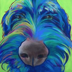 Acrylic on canvas Pop Art painting of a Labradoodle or Wireheared Griffon. Colorful Dog Art