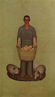 1930 Grant Wood (American regionalist artist, American Gothic (the artist's sister) One of America's leading Regionalist . Iowa, Grant Wood Paintings, Wholesale Picture Frames, Artist Grants, American Gothic, Art Institute Of Chicago, Before Us, Vintage Artwork, American Artists