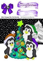 Schattige pinguïns in de sneeuw in gekleurde Hoeden van de Kerstman, Bow 8x8