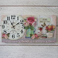 Details of Wooden Shabby Chic Wall Clock Home Sweet Home In Vintage Box Floral Canvas Print- see original title - relojes - Vintage Clock Clock Craft, Diy Clock, Vintage Box, Vintage Floral, Shabby Chic Wall Clock, Sweet Home, Print Box, Decoupage Paper, Shabby Chic Homes