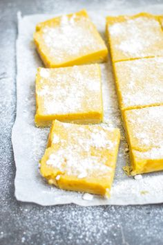 Creamy, custardy, tropical Mango Lemon Bars = chilled with a glass of ice-cold milk www.curriedcantaloupe.com