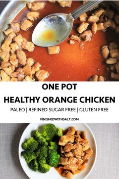 Better than take-out, this One Pot Healthy Orange Chicken is perfect for when your Chinese craving hits! #finishedwithsalt #asian #orangechicken #chicken #chickendinner #glutenfree #soyfree #soyfreechinese #chinesefood #takeout #fakeouttakeout #healthy #onepot #easy #dinner #paleo #recipe #familymeal | finishedwithsalt.com