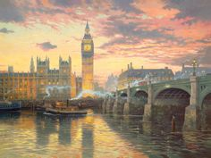 Thomas Kinkade London painting is shipped worldwide,including stretched canvas and framed art.This Thomas Kinkade London painting is available at custom size. Thomas Kinkade Art, Kinkade Paintings, Thomas Kincaid, London Painting, China Painting, Art Sur Toile, Art Thomas, London Wall, Big Ben London