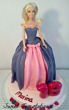 Barbie birthday cake - Barbiecake with vanillasponge-chocoganache-raspberry  inside.