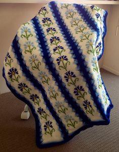 Blue Periwinkle Flowers on Ivory Tunisian Crochet Handmade Blanket on Etsy, $80.00 AUD