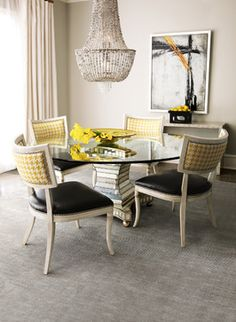 beige, black, yellow, houndstooth, prints - dining room