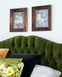 Close up of green velvet headboard
