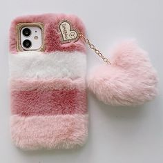 Love Heart Furry Phone Case - For iPhone 12 Pro / Mix Color