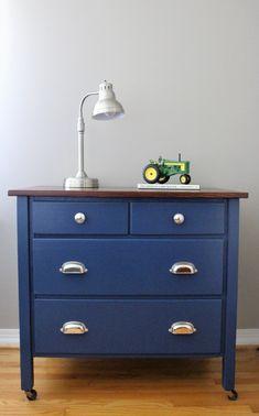 Navy Blue Antique Dresser Makeover