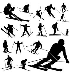 Illustration about Set of ski silhouette vector. Illustration of jump, lifestyle, background - 7678617 Silhouette Clip Art, Silhouette Portrait, Skiing Tattoo, Ski Vintage, Ski Set, Foto Fun, Travel Scrapbook, Figure Drawing, Vector Art