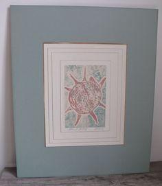 Gathered Seashells IV Block Print Artist Signed B McCarty Dimensional Mounting #ArtBlockPrint $86.99