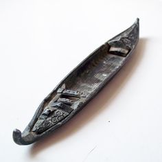 Vintage Beautifully Detailed Lead Model Boat - Indonesia? Malaysia? Miniature Canoe Type - Small Metal Boat - Row Boat - Realistic Detail