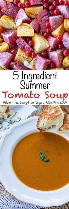 Capture the freshness of vine-ripened tomatoes in this easy summer tomato soup. Not only is this soup incredibly easy, but you only need 5 ingredients!