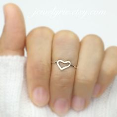 Sweet Open Heart 14K Solid Gold Two Tone Geometric Hand Formed Ring Midi Ring Midi Ring Yellow Gold Pink gold White Gold