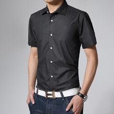 2015 New Fashion Solid Summer Short Sleeve Mens Dress Shirts Casual Slim Fit Men's Shirt