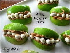 Many Waters Monster Teeth Apples & Candy Corn Fruit Cups...Pinterest Win!