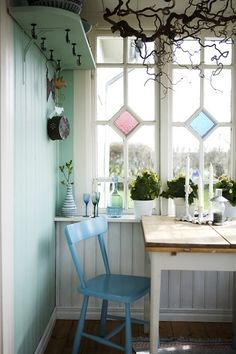 Mint green with white, very refreshing