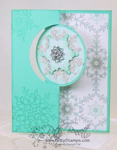 www.PattyStamps.com - Flip card circle thinlit Festive Flurry snowflake