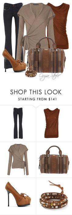 """""""Rust and Apricot"""" by orysa ❤ liked on Polyvore featuring Diesel, Fendi, Ralph Lauren Blue Label, Burberry, Yves Saint Laurent and Chan Luu"""