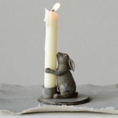 Pewter Bunny Candle Holder, Set of 2 #basketofcandles